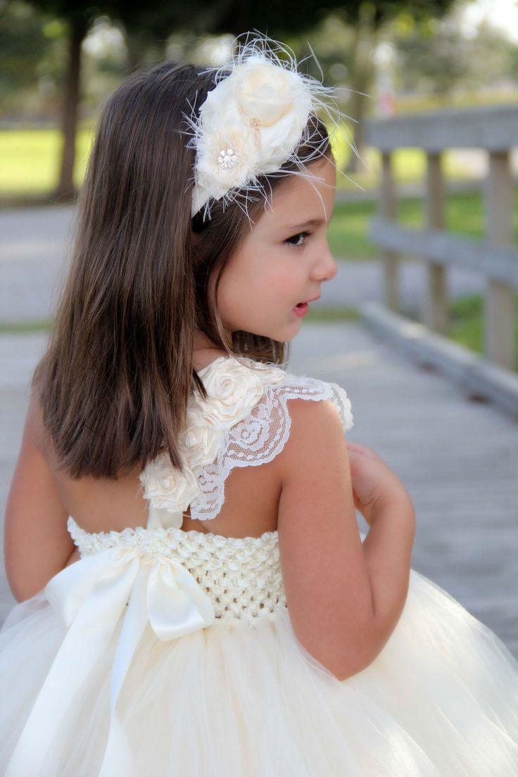 Elegant Ivory flower girl tutu dress, Flower girl dress, tutu dresses, headband, Ivory Wedding. $142.00, via Etsy.