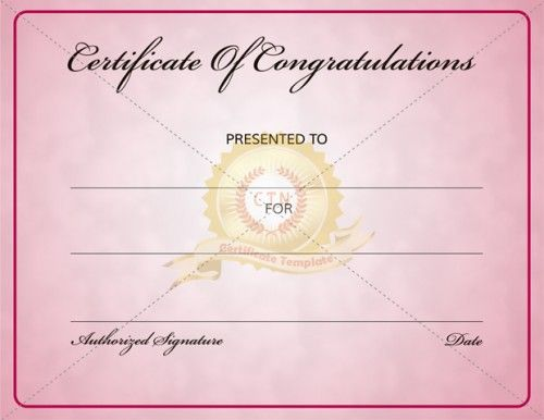 If you want to congratulate someone for their outstanding achievement then award them with a printable award certificate. It is a great way to celebrate a persons achievement. Download and personalize and print your congratulation certificate template. Free Congratulations Certificate Template to use for your personal or commercial projects.