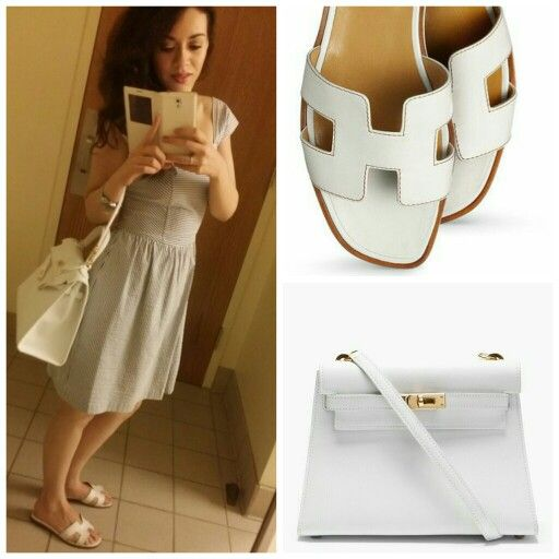 Look of the day #streetstyle white Hermes kelly. White Hermes Flat ...