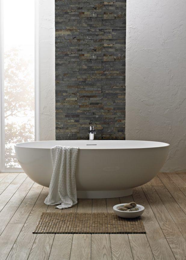 Image result for stacked stone backsplash grey and white