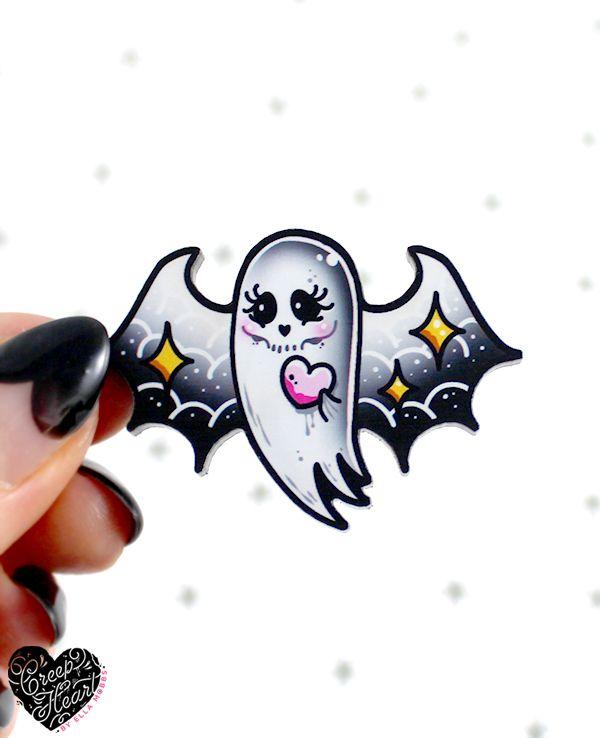 'Ghost Bat' Mini Pin - Creep Heart by Ella Mobbs