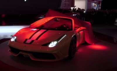 Carhoots | The Hottest, Most Social, Viral Car Content On The Web.  Ferrari brought the house down when the open top version of its most powerful V8 road car was displayed at the 2015 Paris Motor Show.  The Ferrari 458 Speciale A has speed in abundance with its 4.5-liter V-8 engine that produces an awesome 596 hp at 9000, while its torque is 398 lb-ft at 6000 rpm. What does that mean? It is the most powerful convertible ever; going from 0-to-62-mph in a time of 3.0 seconds