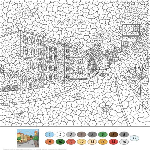 Old Town Street Color by Number Coloring page