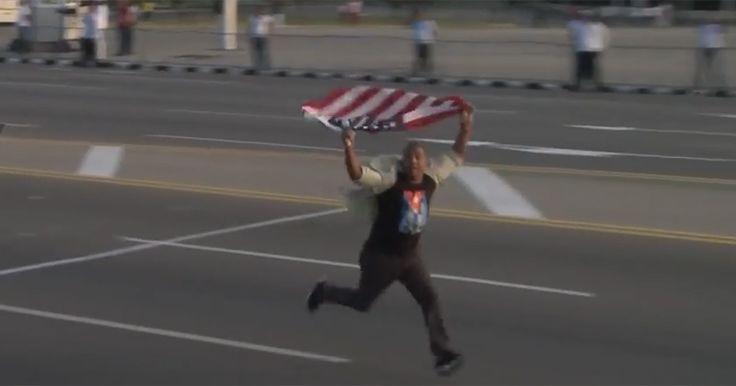 VIDEO: Cuba May Day mob attacks protester waving American flag