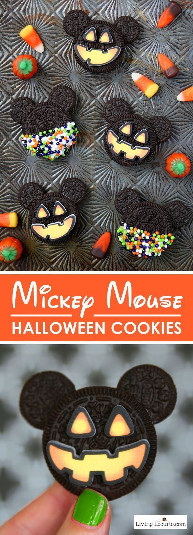 Mickey Mouse Halloween Cookies are adorable Halloween Treats! Easy no bake cookie made with Oreo cookies. Fun food jack-o-lantern Disney themed holiday party dessert recipe for kids.