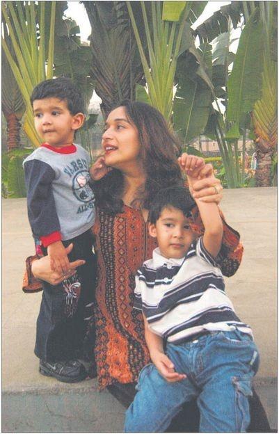 Madhuri with her sons Arin and Raayan.