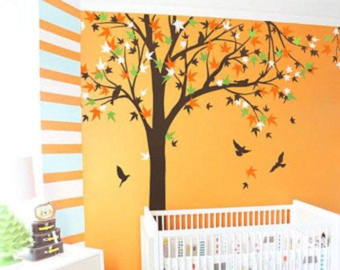 Bebé vivero árbol de arce de gran mural, árbol etiqueta de la pared, pegatinas vinilo pájaro - K024