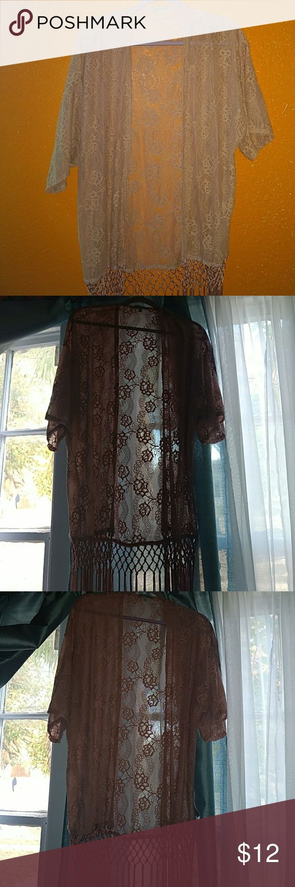 Lace cardigan Floral design , laced , fringed cardigan Charlotte Russe Other