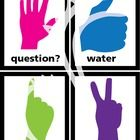 """Use these neon hand signal cards.  2 fingers up- """"I need to go to the restroom."""" 1 finger up- """"I need a tissue."""" Thumbs up- """"I need water."""" Hand ra..."""