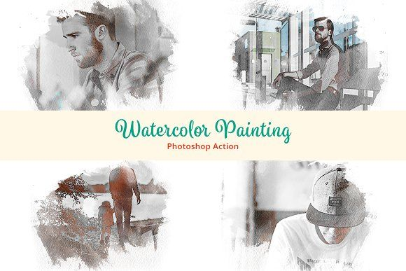 Watercolor Painting Photoshop Action Abr Action Addon Aquarelle