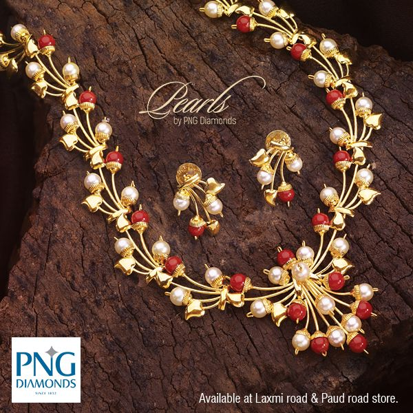 A beautiful #Pearl and #Coral necklace in gold. A must have for your collection.