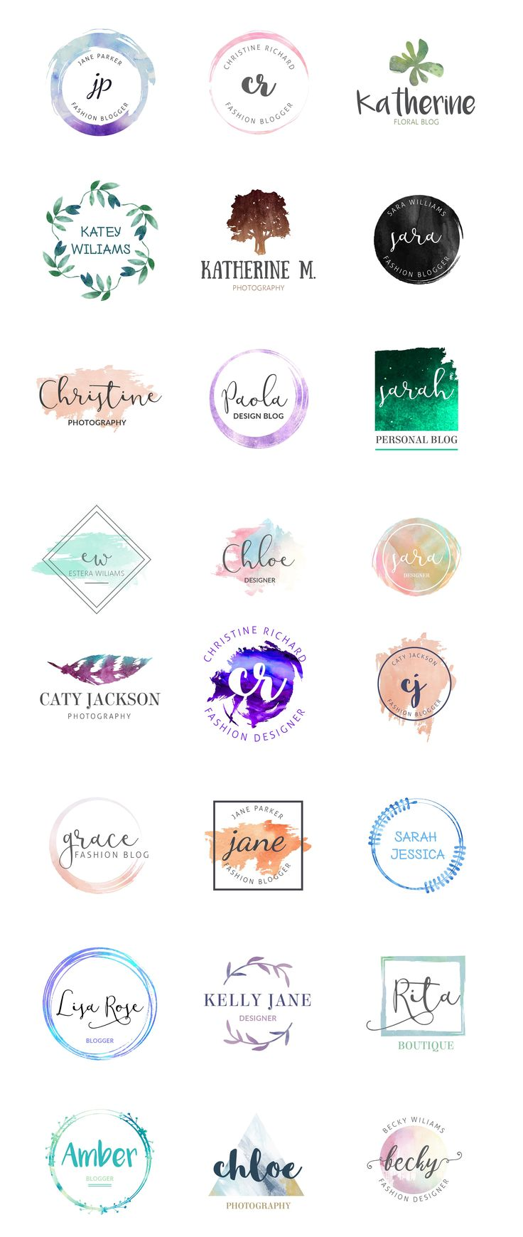 Feminine Logo templates vol 2 by Graphic Dash on @creativemarket Creative logo design inspiration, perfect for a modern business branding with perfect font and typography selection. Take some ideas or use this feminine, elegant, nature, simple and also hipster set.