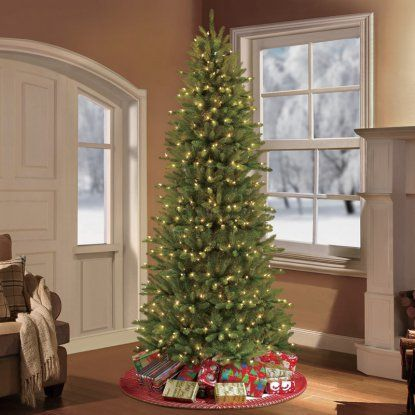 Puleo Tree Company 7.5 Pre-Lit Slim Fraser Fir Artificial Christmas Tree with 500 Clear UL-listed Lights