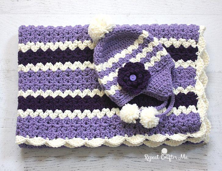 Crochet Cluster V Stitch Striped Blanket With Shell Border