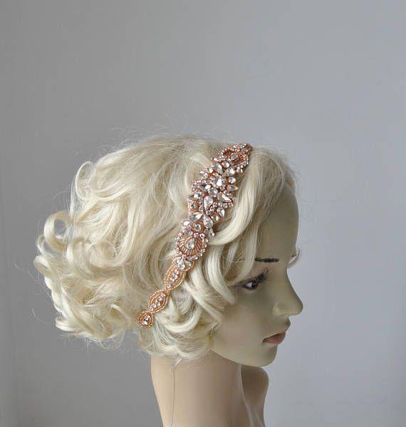 Long Rose Gold Bridal Headband Crystal Rhinestone Wedding Headband Headpiece Rose Gold Bridal Flapper 1920s Great Gatsby Headband Headpiece