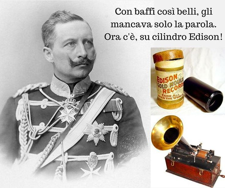 3 marzo 1904: il #Kaiser Guglielmo II di #Germania è il primo a effettuare la registrazione audio di un documento politico, usando un cilindro fonografico #Edison.  Ok, c'erano argomenti più interessi in questo giorno, come l'abolizione della servitù della gleba in Russia nel 1861, con tutti i guai che ha causato nei primi tempi e le lamentele dei contadini stessi, e bla bla bla ma… ehi, è il Kaiser! È bellissimo, non rinuncio a mettere una sua foto! #baffi