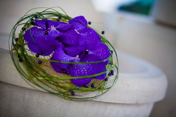 Vanda and beargrass bouquet on wire frame by NO NO NO