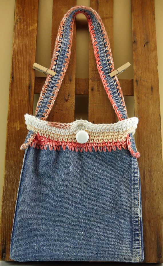 Recycled denim purse crochet girls shoulder bag by Heads2Toes