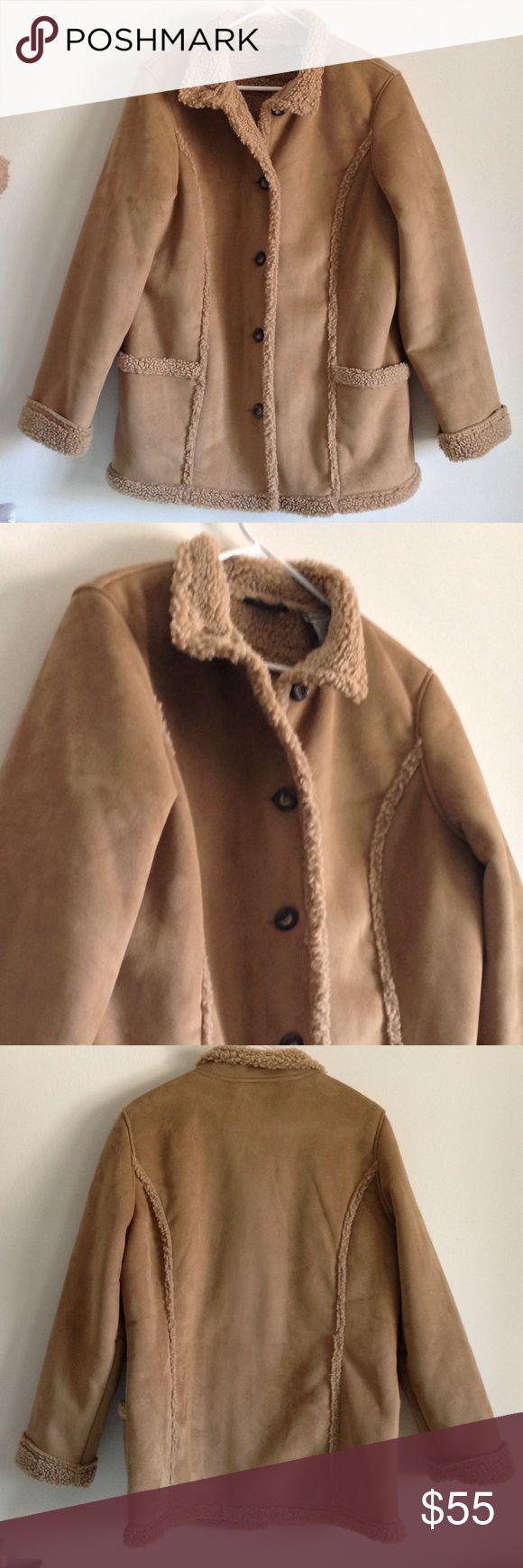 "L.L.Bean Faux Suede Shearling Coat Comfort, warmth, and stylish. Sherpa lined. 2 side pockets. Buttons. Face: 100% polyester. Back: 80% acrylic and 20% polyester. Measurement laying flat: bust: 22"" length: 31"" It look alike brand new - worn about 3 times or less. No stains or holes. L.L. Bean Jackets & Coats"