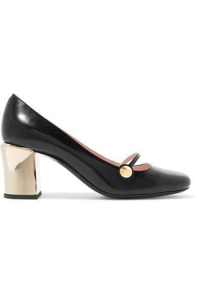 Heel measures approximately 65mm/ 2.5 inches Black leather Slip on Made in Italy