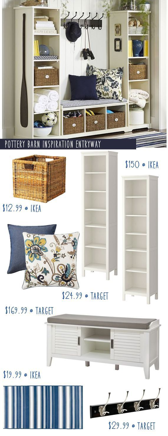 Pottery Barn Entryway Inspiration with Ikea Hacks! (I have a few ideas that would make it even cheaper.)
