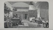 Faraday's Laboratory at the Royal Institution (1870 engraving)