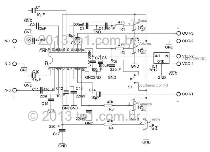 Lm1036 tons Graves Bass Agudos Treble Volume Loudness Balance Lm1036   Circuito de Controle de tons estéreo Graves, Agudos, Volume circuito audio circuito circuito amplificador