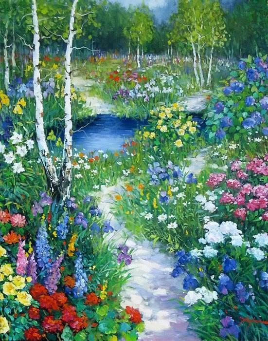 Simple Flower Garden Paintings 236 best garden art images on pinterest | garden art, flower