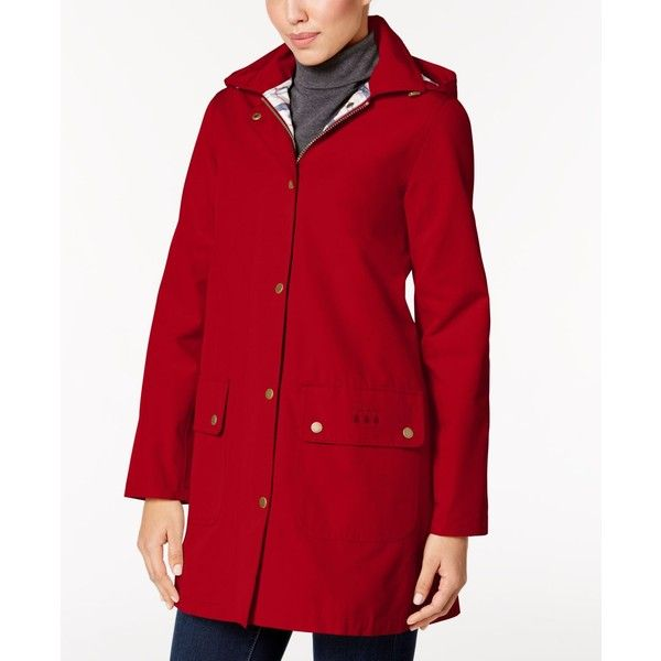 Barbour Gustnado Hooded All-Weather Raincoat (£245) ❤ liked on Polyvore featuring outerwear, coats, red, red coat, barbour coats, barbour raincoat, barbour and hooded raincoat