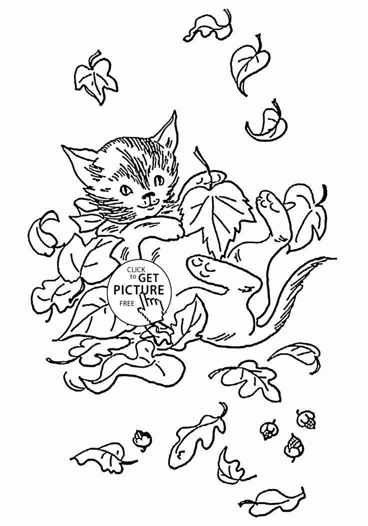 cat with fall leaves coloring pages for kids fall printables free wuppsycom