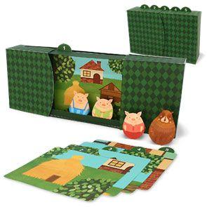 Activité enfants - Mini théatre à construire autour histoire Trois Petits Cochons (DIY Free Printable)