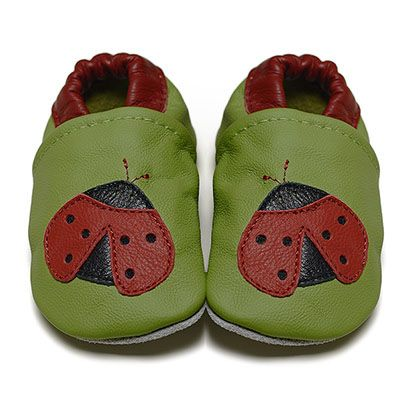 Green Ladybugs - Soft Sole Baby Shoes I DESIGNED to provide comfort and protection for tiny feet I FOX & FROG