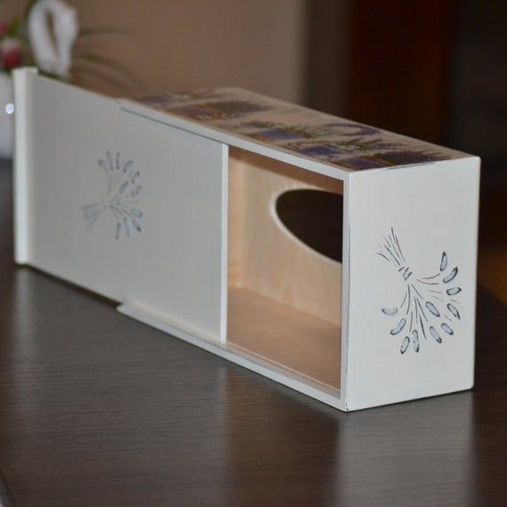 Wooden napkin box french style lavender decor kitchen storage Shabby chic wood kleenex dispenser tissue box Napkin holder