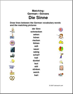 German: Matching - Senses - Two matching exercises: match German vocabulary words with color illustrations, and match German vocabulary words with their English counterparts. With answers.