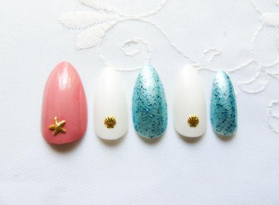 Pretty Nautical Beach Nails, Fake Nails, Stiletto Nails, Almond Nails, Press on, Nautical, Beach, Me