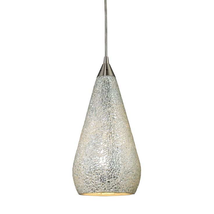 Curvalo 1 Light Pendant In Satin Nickel And Silver Crackle Glass 546-1SLV-CRC