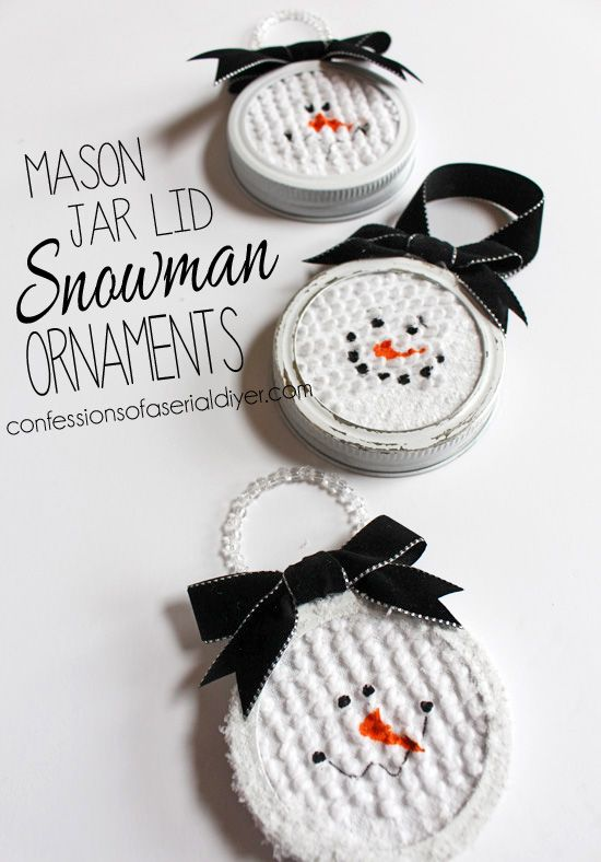 Mason Jar Lid Snowman Ornaments www.thenymelrosefamily.com  #ornaments