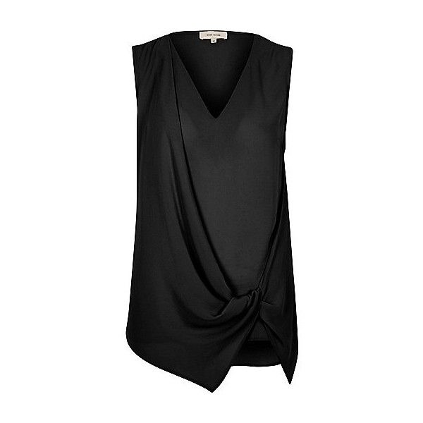 Zwarte mouwloze blouse met geknoopte voorkant (€37) ❤ liked on Polyvore featuring tops, blouses, sleeveless tops and sleeveless blouse