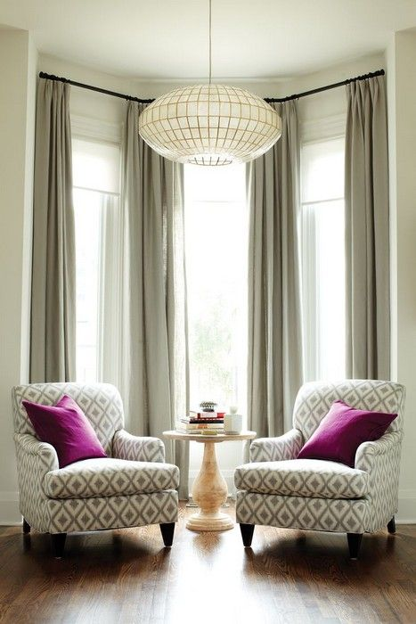 Purple Can Be Different: Inspiration (20 pics). Messagenote.com How to make the room look bigger  Living room  two armchairs  large chandelier  tall windows  drapes hung REALLY high