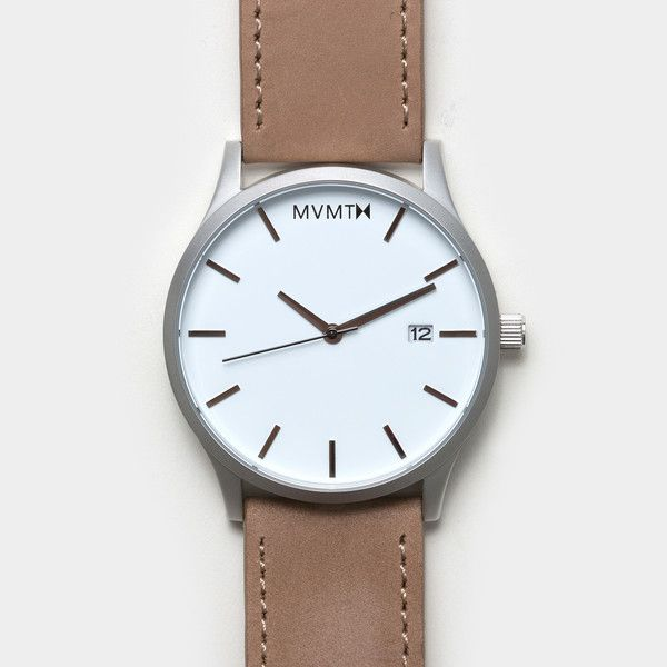 MVMT Watches - White/Tan Leather watch available on @Darla Sherwood Jardine Material's online shop. http://shop.coolmaterial.com/products/mvmt-white-tan