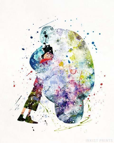 Baymax, Big Hero 6 Disney Watercolor Wall Art Poster - Prices from $9.95 - Click Photo for Details - #disney #watercolor #babyroom #christmasgifts #wallart #Baymax #BigHero6