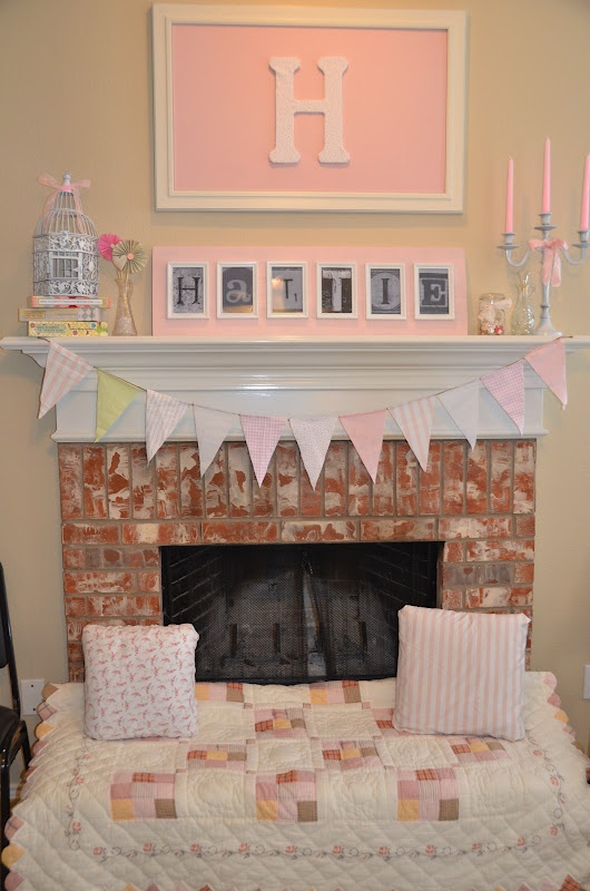 Decorate fireplace for extra seating for baby girl shower