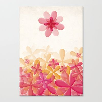 Pattern Pink Flowers Stretched Canvas by Zuriñe Aguirre Illustration - $85.00