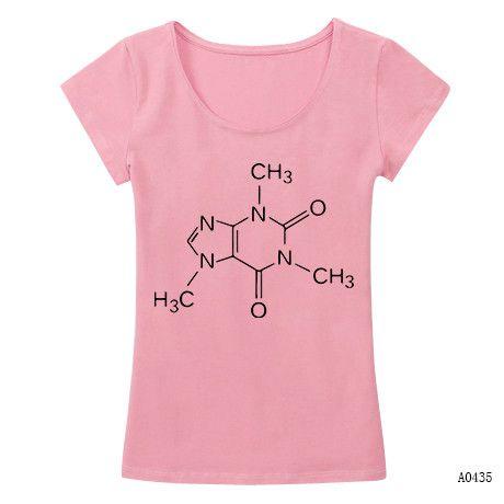 Caffeine The Big Bang Theory Stylish T-shirts Women Good Quality Slim Tshirts Female Crew Neck New Camisetas Nice T Shirts
