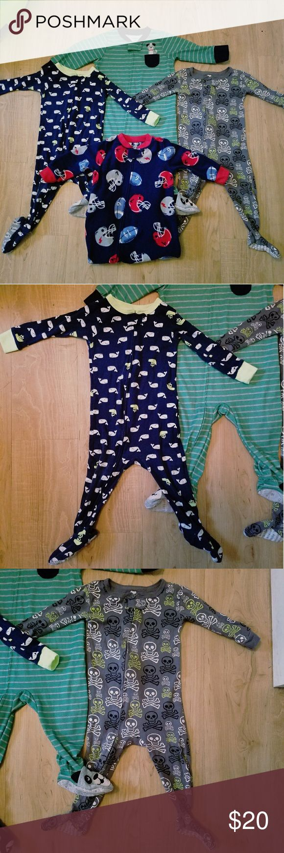 😴Carter's & Koala Baby 12months Boy's PJ Bundle Carter's & Koala Baby 12month boy's PJ Bundle. Includes 4 sets of PJ onesies. Koala Baby skull onesie & Carter's Whale onesie are supposed to be a snug fit. All fit 12 months. Washed in  baby detergent, smoke free home, great condition!! Open to reasonable offers and custom bundles, just ask!! 😊😊 Carter's Pajamas Pajama Sets