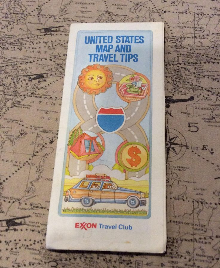 Roadmap Of The Us%0A Exxon Travel Club      USA road map and travel guide by TreasuresFromTexas  on Etsy