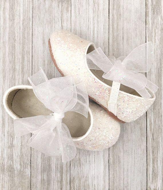 Infant girl shoes, Toddler girl shoes, Kids Girls Shoes -WHITE Rock Glitter mary-jane with glitter sash ribbon bow for flower girls