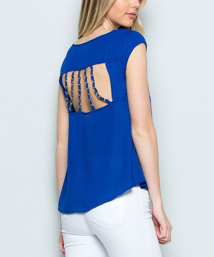 Royal Blue Strappy Cutout-Back Scoop-Neck Top