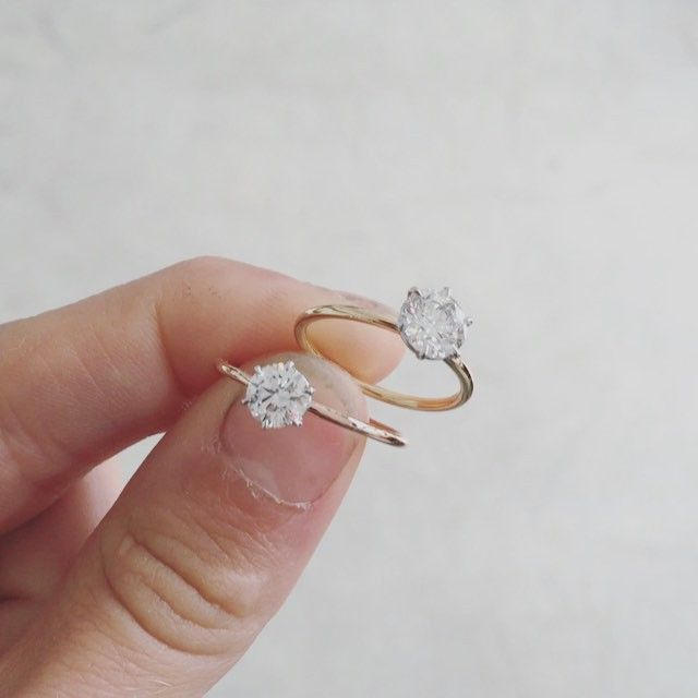 Natalie Marie Signature diamond solitaire, handmade fine 6 claw engagement rings.