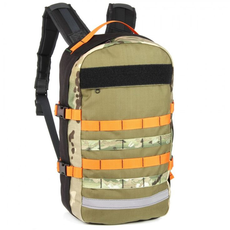 Multicam Orange and Black BullPup backpack complete with our new hydration hole outlet. Yup, 18L of awesomesauce.